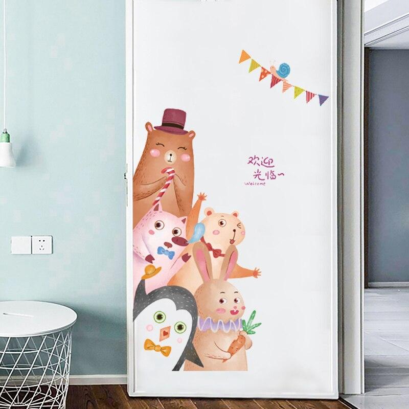 Забавные милые животные наклейки на дверь DIY наклейки на стену для детской комнаты художественные Декоративные наклейки для детской комнаты наклейки на стены обои ПВХ|Наклейки на стену|   | АлиЭкспресс