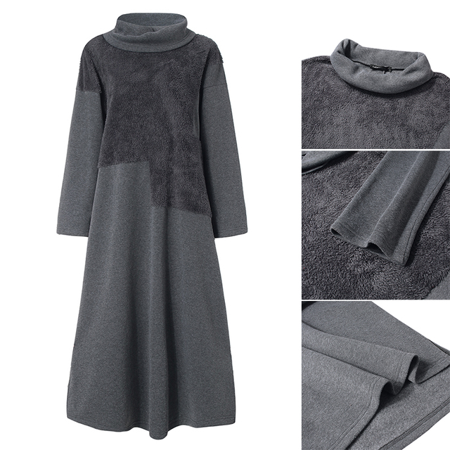 Fashion Women's Autumn Sundress ZANZEA 2019 Lace Patchwork Sweatshirts Dress Female Hoodies Plus Size Maxi Vestidos Pullover 5XL 6