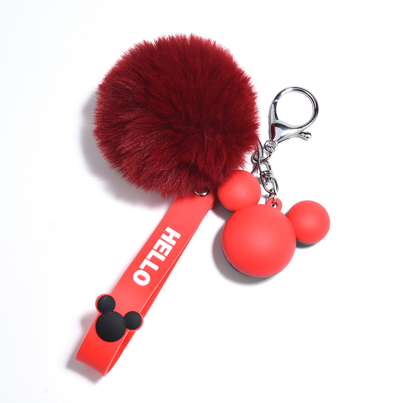New Creative Mickey Head Keychains Cute Mouse Keychain With Lanyard Kids Girl Women Bag Charm Pendant Car Keyring Beautiful Gift