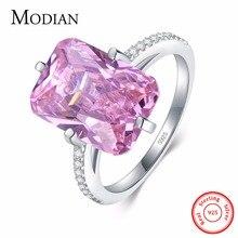 Modian Лидер продаж 100% 925 стерлингового серебра роскошные кольца модное розовое платье с украшением в виде кристаллов вечерние кольца для женщ...