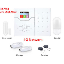 Renkli ekran HA VGT kablosuz RJ45 Ethernet TCP IP alarmı 4G GSM Alarm sistemi 32 kablosuz bölge App ve WebIE kontrol Alarm sistemi