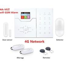 Tela colorida HA VGT sem fio rj45 ethernet tcp ip, alarme 4g gsm sistema de alarme, 32 aplicativo de zona sem fio e webie sistema de alarme de controle