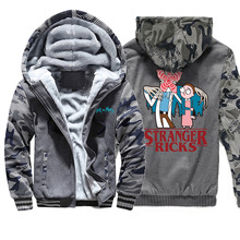 Stranger Things Men Winter Jacket Camo Fleece Thic