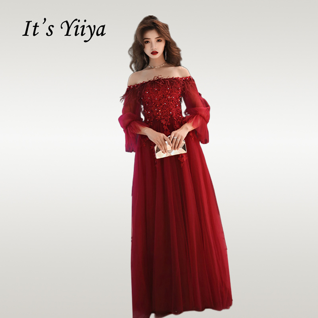 It's Yiiya Evening Dress Long Sleeve Crystal Beading Women Party Dresses Elegant Boat Neck Long  Burgundy Formal Gowns E689