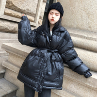 black winter parkas women Adjustable Waist Female coat Winter Autumn Warm Wild Loose jacket Sashes red Thick warm outwear MY173