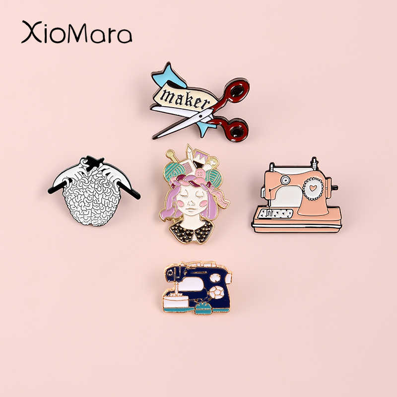 Handcraft Lover Enamel Pins Collection Craftsman Sewing Machine Scissor Knit DIY Badge Ingenuity Maker Brooches Pins For Gifts
