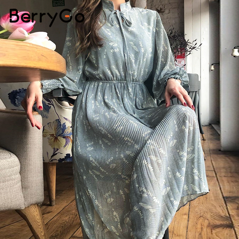 BerryGo Elegant Floral Print Dress Women Spring Summer Long Sleeve Dress Female Tie-neck Pleated Holiday Long Dress Vestidos