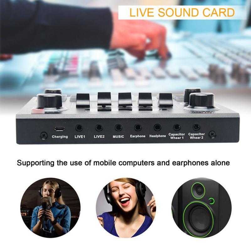V9 Carte son externe V9 jeux t/él/éphone portable changeur de voix et console de mixage avec 16 effets sonores pour ordinateur diffusion en direct