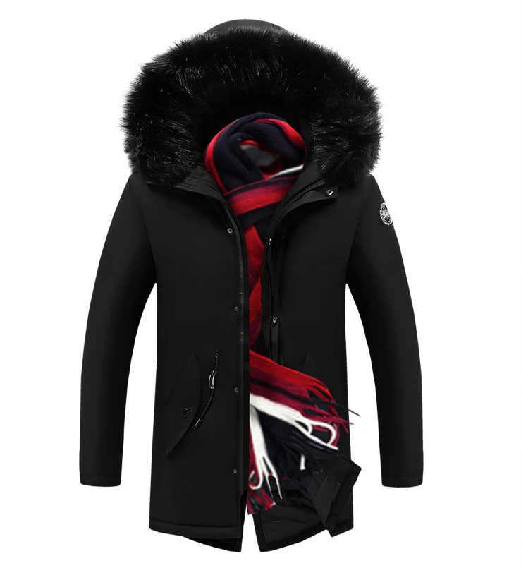 SHUJIN 2019 חדש גברים מעיל מעיל סלעית כיסים להאריך ימים יותר עמיד למים מעיל גברים מותג חורף פו פרווה צווארון ארוך עבה כותנה