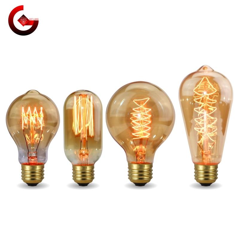 Retro Edison Bulb E27 220V 40W LED Light Bulb A60 ST58 ST64 T10 T45 T185 G80 G95 Filament Vintage Ampoule Incandescent LED Lamp