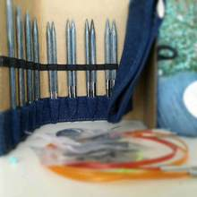 Knitpro denim agulha circular intercambiável conjunto com tricô ponta da agulha knitting cabo colecionadores especiais