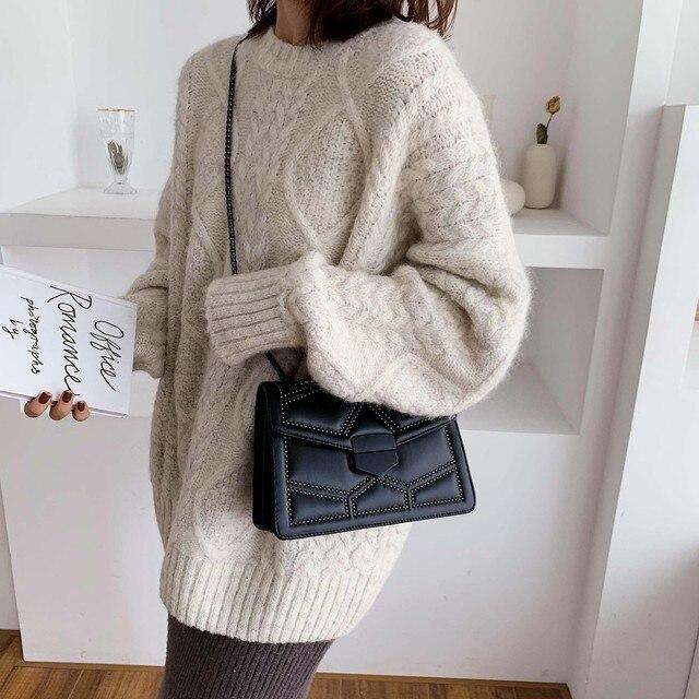 Rivet Chain Brand Designer PU Leather Crossbody Bags For Women 2021 Simple Fashion Shoulder Bag Lady Luxury Small Handbags 3