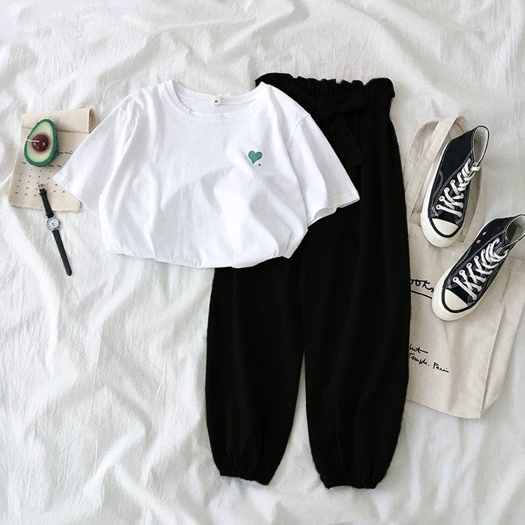 Spring Female Tracksuits Fashion Clothes Casual Loose Tops And Pant 2 Piece Sets Women Students Girls Sweet Sportswear Plus Size