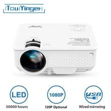 Touyinger mini projetor led m4 plus 720p, suporte completo hd vídeo beamer para cinema em casa, 2800 lumen filme projetor media player