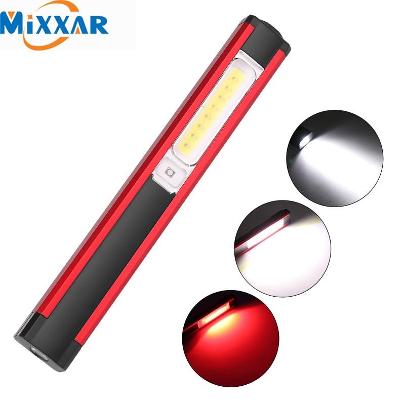 Linterna de mazorca ZK20, linterna portátil de trabajo, linterna de carga USB, batería integrada con imán, portalápices, lámpara de luz roja