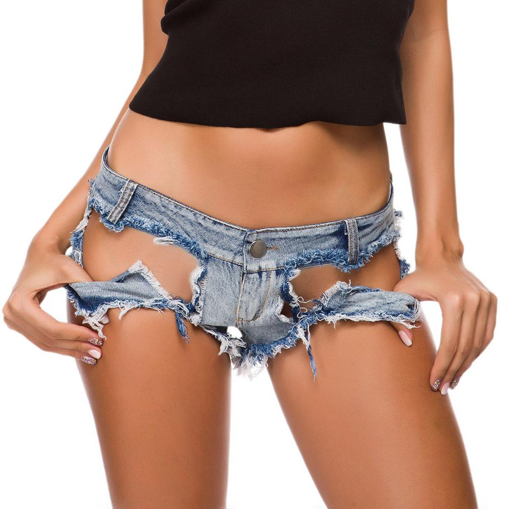 Women Sexy Trimming Jeans Ladies Ripped Shorts Low-rise Hollow Denim Shorts Feminino Mini Baggy Shorts Clubwear Summer