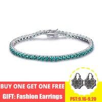 UMCHO Luxury Created Nano Green Emerald Gemstone Bracelet Real 925 Sterling Silver Bracelets & Bangles Romantic For Women Gifts