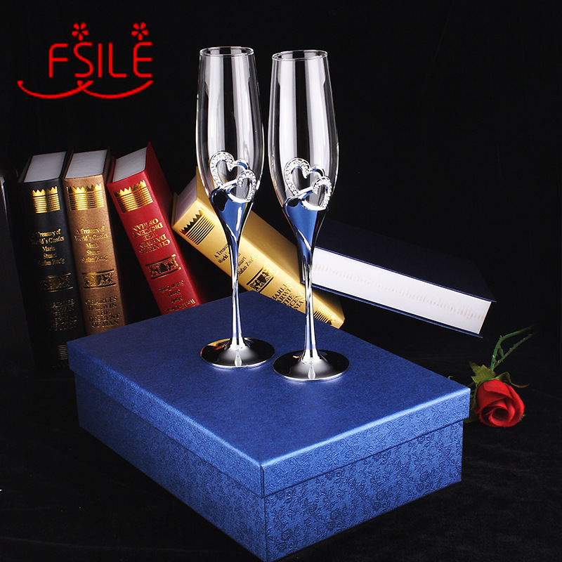 FSILE 2pcs Crystal inlaid tall champagne glasses gift box with rhinestones creative champagne glasses tall pair of glasses