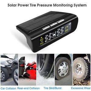 Image 3 - 433.92MHZ 4 external tyre Sensor USB Solar Charging Car TPMS Tire Pressure Monitoring System HD Digital Display Auto Alarm tool