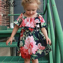 ZAFILLE 2020 Bandage Off Shoudler Baby Girl Dress Floral Printed Toddler Girls Clothes Short Sleeve Kids Clothes Summer Dress lovely toddler kids baby girls pumpkin floral dress party short sleeve dress sundress halloween cute clothes summer suit