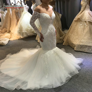 Image 1 - Vestido de novia de sirena sin hombros, mangas largas, nupciales, 2020