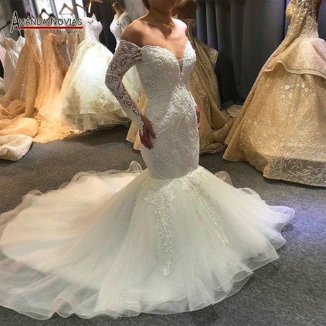 Vestido de novia de sirena sin hombros, mangas largas, nupciales, 2020