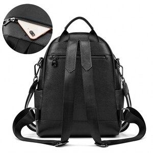 Image 3 - BISONJS Multifunction Backpack Female Genuine Leather Ladies Shoulder Bags Brand Small Women Backpack mochila feminina B1853