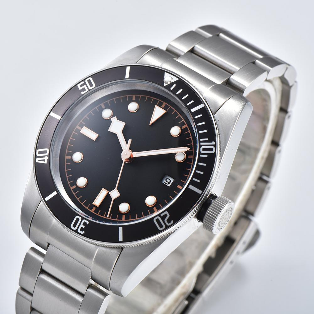 Automati wristwatch 41mm mineral glass stainless steel case Rotating bezel black sterile dial 11-D15