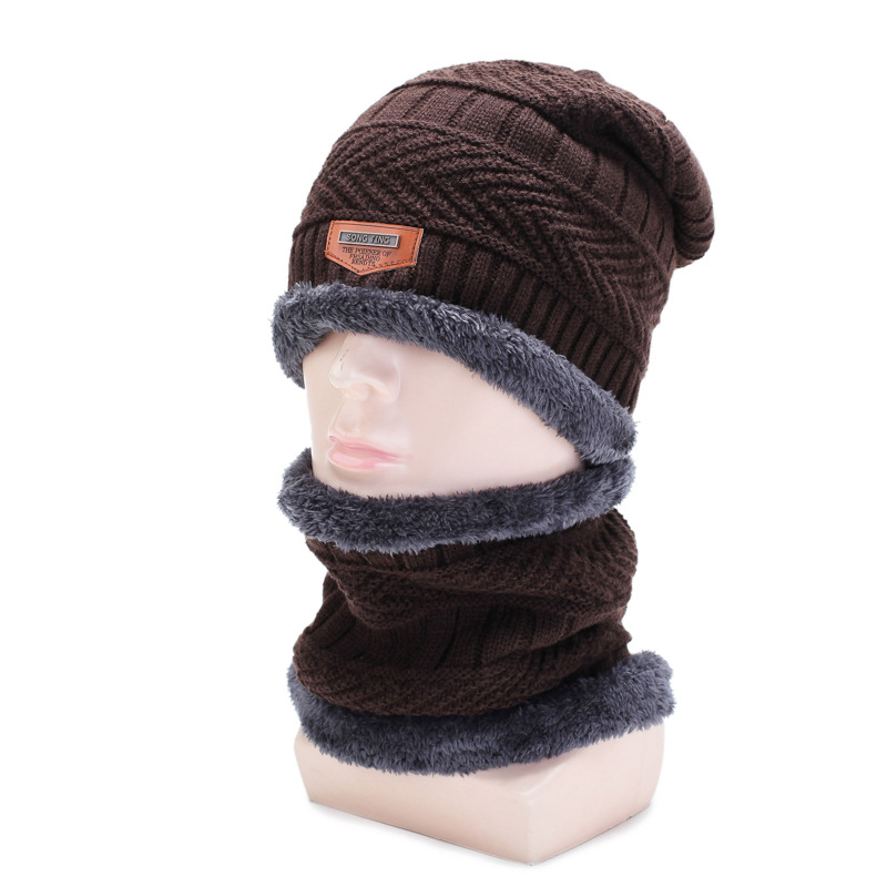 Women Men Beanie Hat Scarf Set Unisex Knitted Winter Cap Casual Beanies Solid Hip-hop Snap Slouch Skullies Bonnet Hats Keep Warm