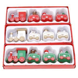 Image 4 - Mini ensemble de trains de noël en bois, jeux de décoration de noël, jeux de trains en bois, modèle de véhicule, jouets de noël, nouvel an, 2020