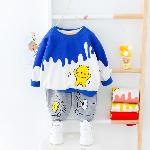 Bebê da criança roupas da menina do menino dos desenhos animados urso camiseta + calça 2 pçs define meninos primavera outono outwear roupas de moda 1 2 3 4 ano