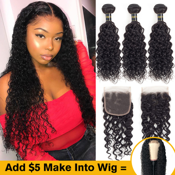 Uneed Hair 4x4 Lace Wig Peruvian Water Wave Human Hair Wig Glueless Lace Front wigs Made by 2/3 Bundles with Lace Closure