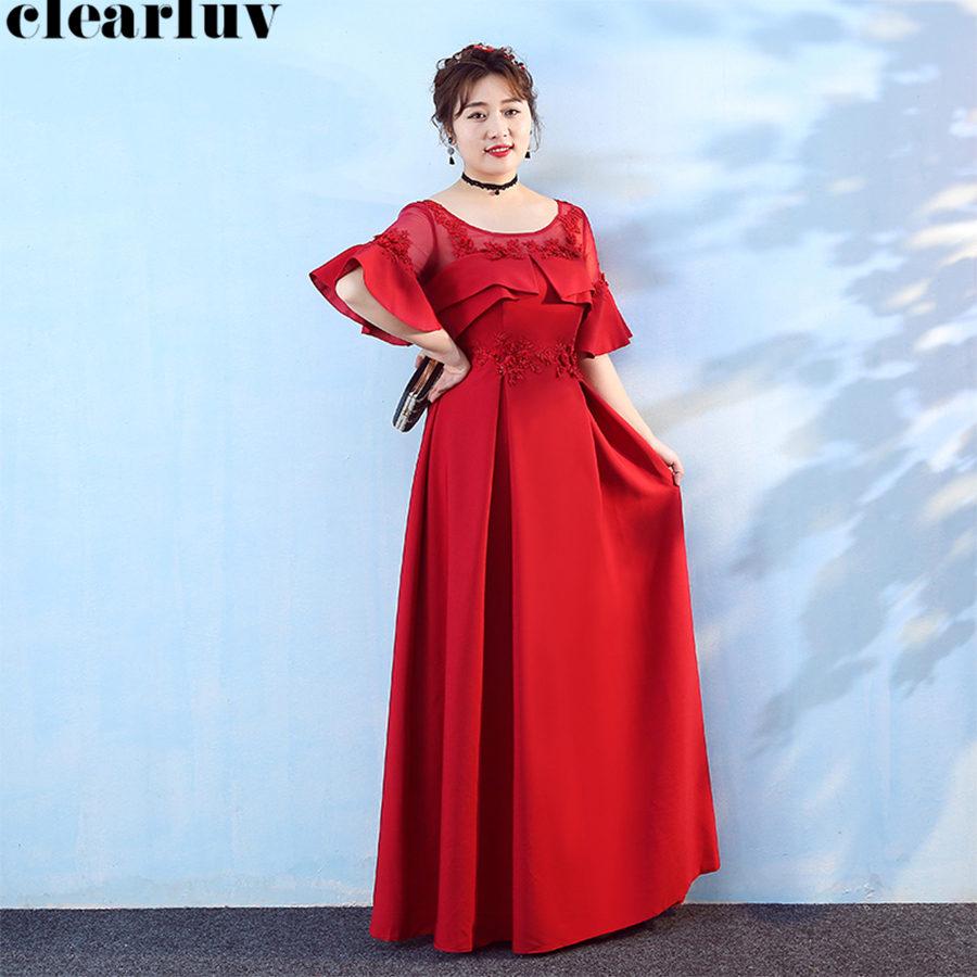 Evening Dress Burgundy O-Neck Plus Size Women Party Dresses ...