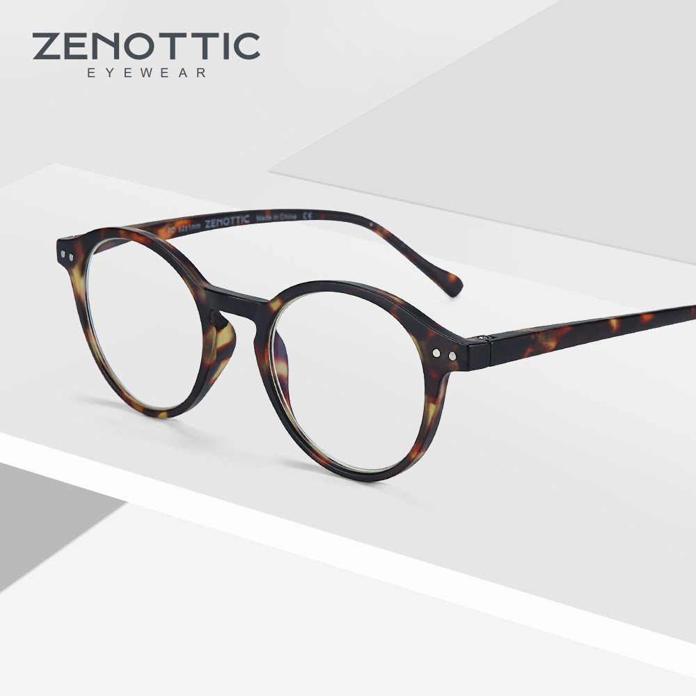 ZENOTTIC Round Reading Glasses Women Vintage Clear Eye Glasses Hyperopia Anti Blue Light Reading Glasses Men Eyewear New BT4203B