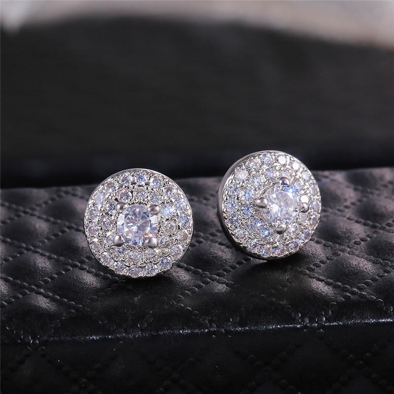 Girls Cute Crystal Round Earrings Silver Color White Zircon Stone Wedding Stud Earrings For Women Ear Studs Vintage Jewelry