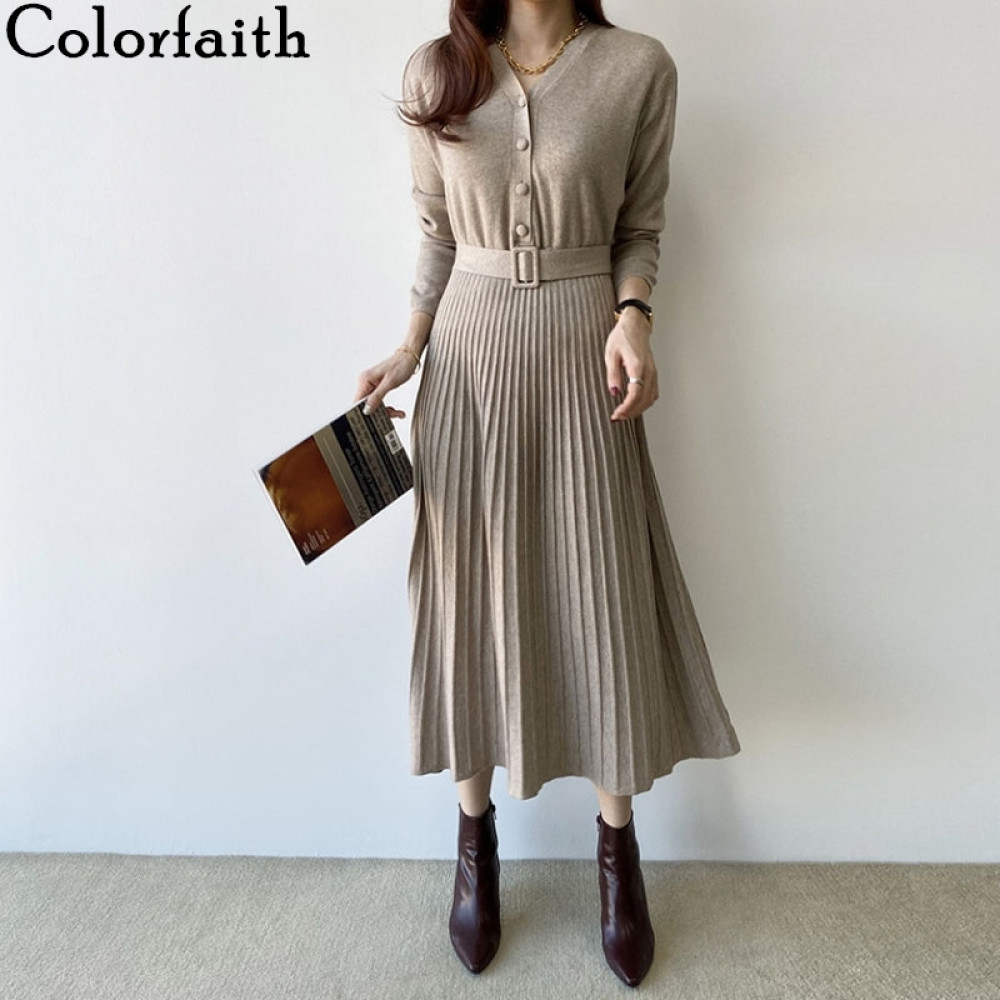 Colorfaith New 2019 Spring Women Dress Long Casual Korean Style Single Breasted Pleated V-neck Lace Up knitted Dress DR7248