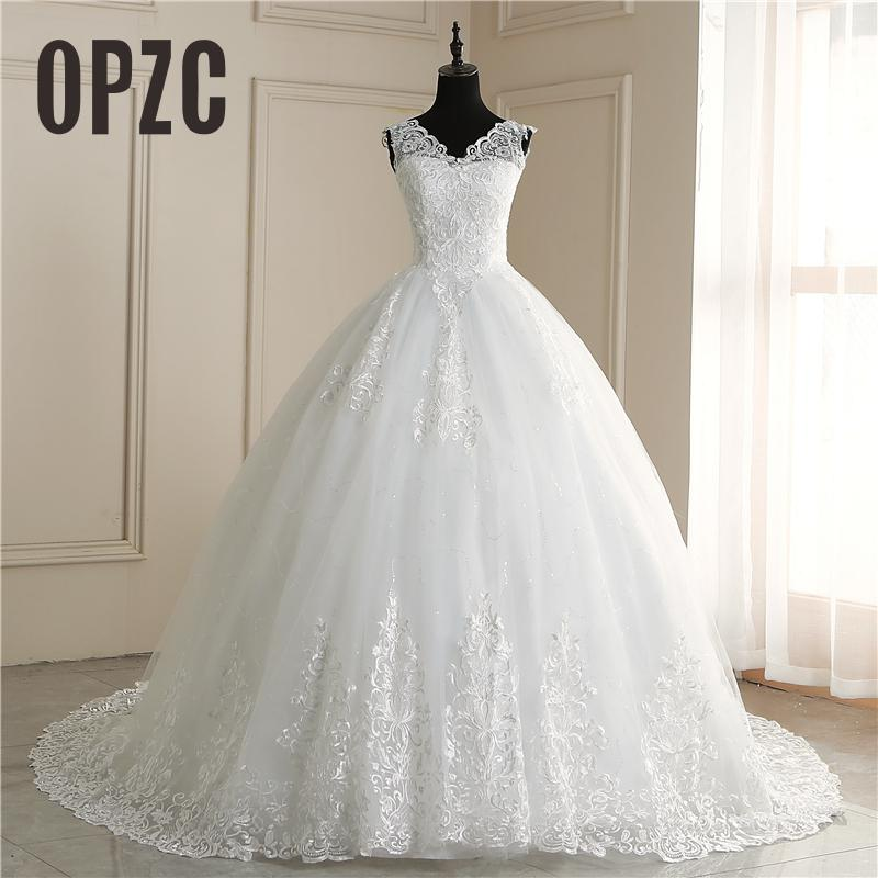 OPZC New Fashion Africa Style Wedding Dress Boat Neck Vestido De Noiva Long Train Luxury Lace Embroidery Do Dower Plue Size 7