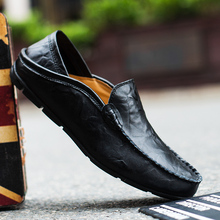 Fashion Shoes Men Loafers Leather Mens Casual Breathable Mocassin Flat Black Big Size 37-47