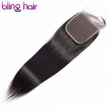Fechamento reto do laço do cabelo humano 4x4 do cabelo de bling livre/meio/parte três com cabelo do bebê remy peruano fechamento cor natural 8