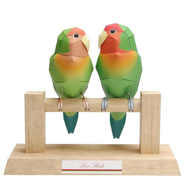 Love Birds Parrot Folding Cutting Mini Cute 3D Paper Model Papercraft Flying Animal Figure DIY Kids Adult Craft Toys QD-105 2