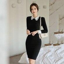 Moda mujer elegante cómodo negro vestido básico hinchable nueva llegada vintage casual fiesta tendencia Delgado sexy ol lindo lápiz vestido