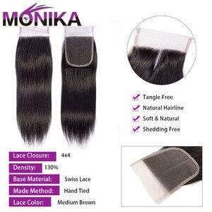 Image 2 - Monika fechamentos de cabelo peruano fechamento em linha reta do cabelo humano 4x4 fechamento do laço suíço 1 peça não remy cabelo frete grátis