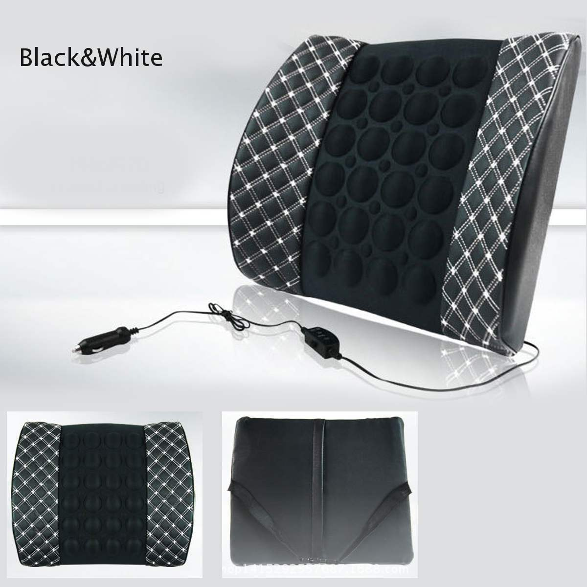1 pcs 12V Car Pillow Back Support Lumbar Electrict Massage PU Leather Car Trucks Pain Relive Protection Wasit Seat Cushion Relax