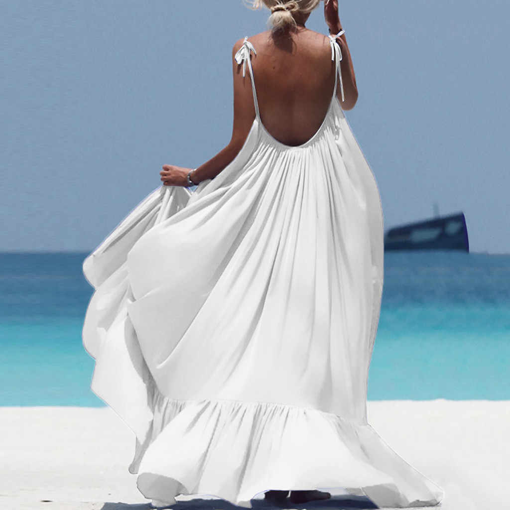 Big Size Jurk Backless Vrouwen Boho Maxi Solid Mouwloos Lange Backless Jurk Avond Party Beach Dress Casual Kleider Damen