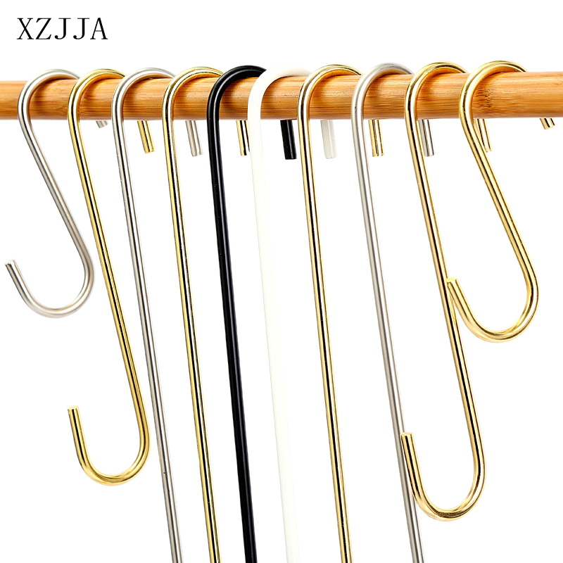 XZJJA 2Pcs Metal 10-30cm S Shaped Hooks Kitchen Bathroom Sundries Organizer Clothing Store Clothes Hanger Long Display Hooks