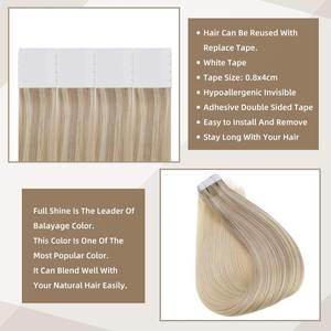 Image 3 - Full Shine Tape in Hair Extensions Balayage Color 100% Human Tape On Hair Extensions 50g 20 Pcs machine made remy