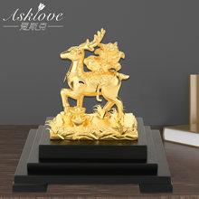 Creative Fortune Deer 24K Gold Foil Ornament Collect Wealth Fengshui decor Gold Deer Modern Home accessories Crafts figurines