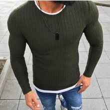 WENYUJH 2019 Autumn New Mens Sexy Skinny Sweater Solid Knitted Pullover Thin O-Neck Slim Fit Tops Clothes Plus Size 5XL