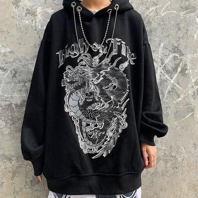NiceMix Hoodies Women Clothes Dragon Print Sweatshirts Hip Hop Female Hoodie Streetwear Punk Devil Print 2020 Spring Loose