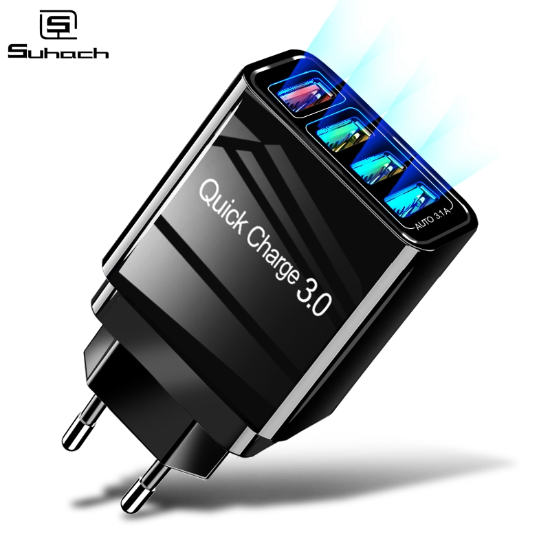 Suhach <font><b>USB</b></font> Charger Quick Charge 3.0 Fast Charging <font><b>QC3.0</b></font> Multi <font><b>USB</b></font> Charger for Samsung S10 Plus Xiaomi Travel Wall Phone Charger image